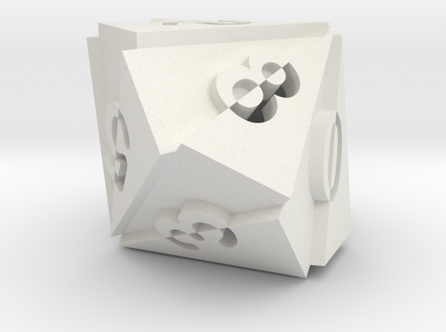 Optical Art D10 Dice in White Strong & Flexible