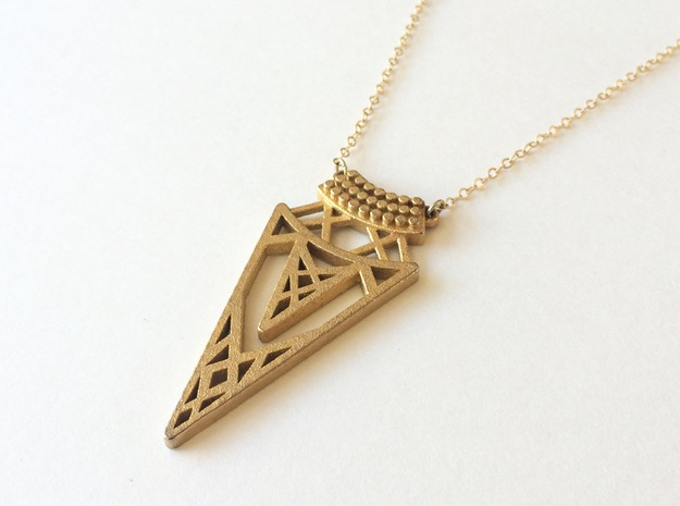 Cleo Pendant in Polished Gold Steel