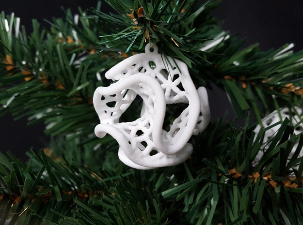 Minimal Surface Christmas Bauble in White Natural Versatile Plastic