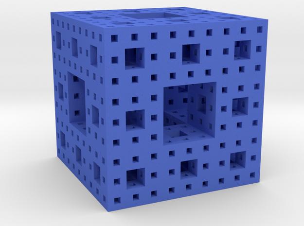 Menger Sponge in Blue Processed Versatile Plastic