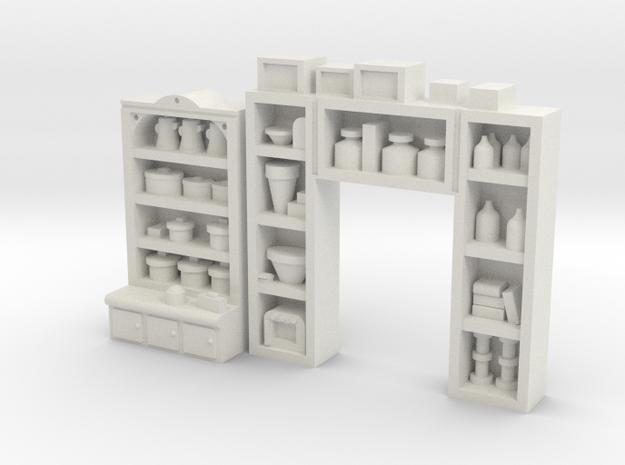 Interior Shelving Pack #4 HO Detailed in White Natural Versatile Plastic
