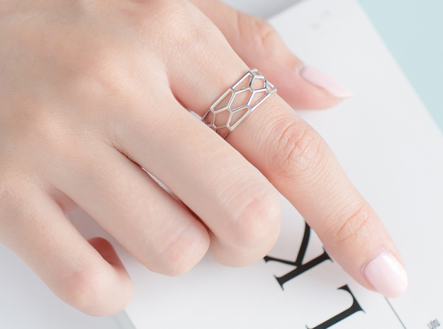 Unique Hexagon Ring  in Polished Silver