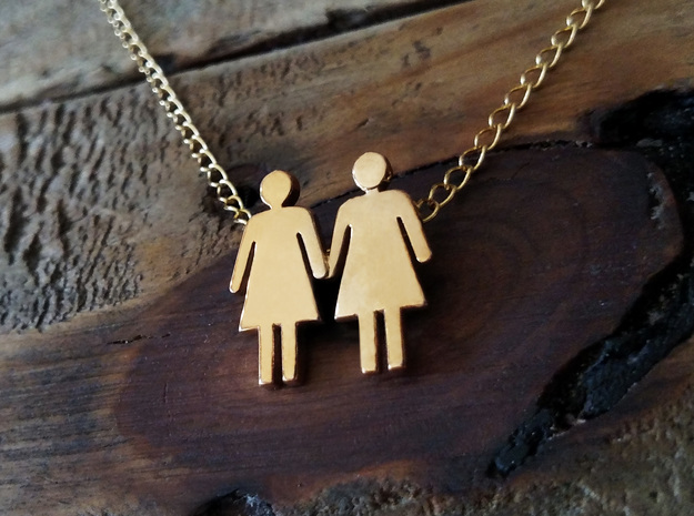 Woman Loves Woman Pendant- Love is Love Collection in Polished Bronze