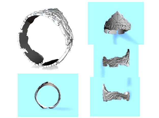 Cloud Ships Lightning, Ring Size 14 3d printed
