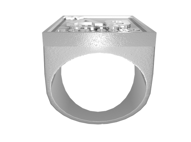Silver Periodic Table Ring Size 8 Solid Ring Band 3d printed CGI Render of The Silver Periodic Table Ring From The Front