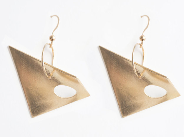 Hypar Earrings in Natural Brass