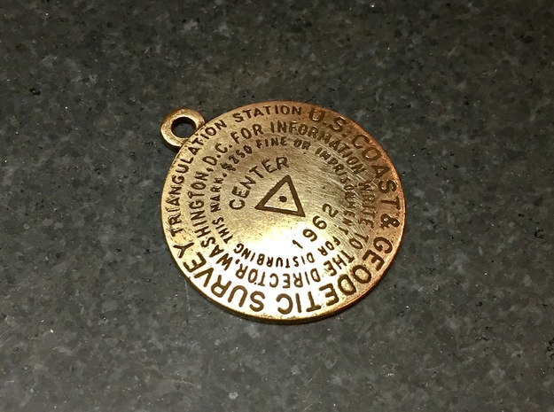 Center of the Nation Benchmark Replica Keychain in Raw Bronze