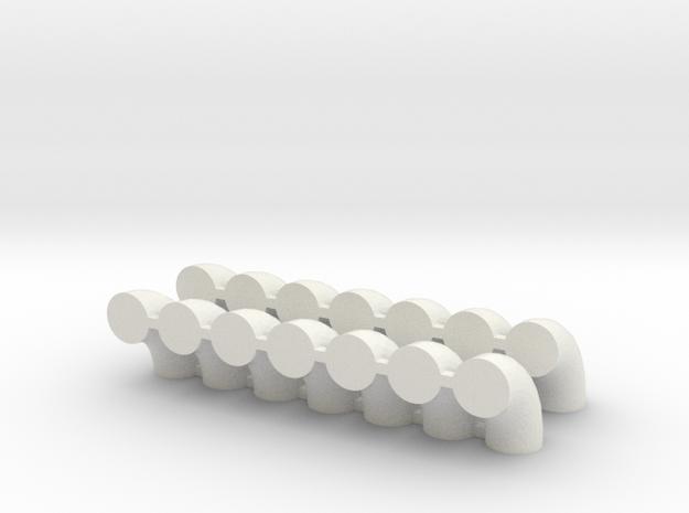 "'N Scale' - (14) 20"" Diameter Elbows in White Natural Versatile Plastic"