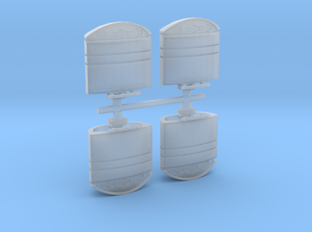 Urban Garbage-Recycling Bin x 4 in Smooth Fine Detail Plastic