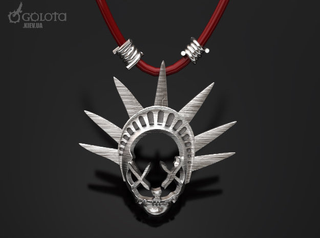 The Purge-3  pendant  necklace in Polished Bronzed Silver Steel
