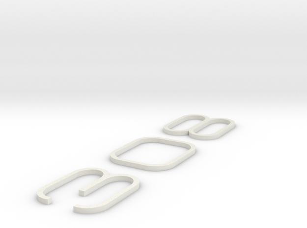 KEYCHAIN 308 INNER WHITE PLASTIC INSERTS 3d printed