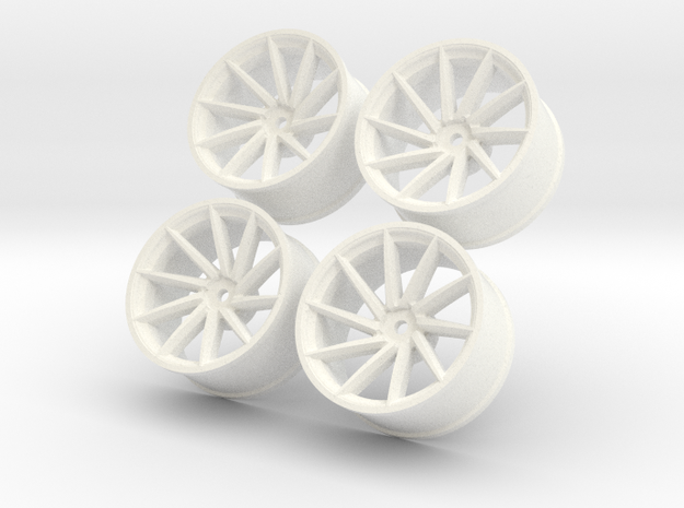 1/10 Touring Car Vossen CVT Wheels Set  in White Processed Versatile Plastic