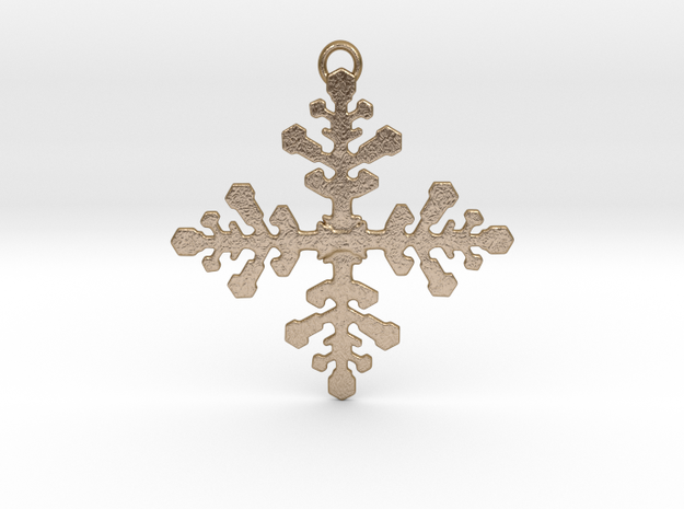 Snowflake Pendant in Polished Gold Steel