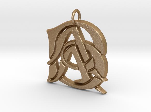 Monogram Initials AAB Pendant in Matte Gold Steel