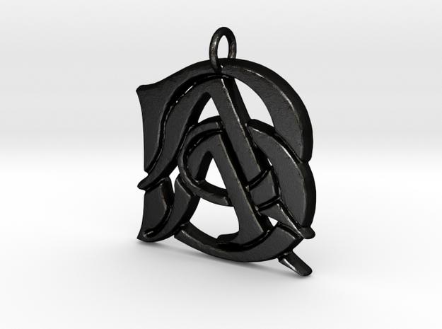 Monogram Initials AAB Pendant in Matte Black Steel