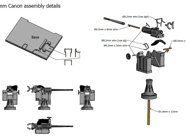 25mm Cannon kit x 2 - 1/96 3d printed Assembly Details