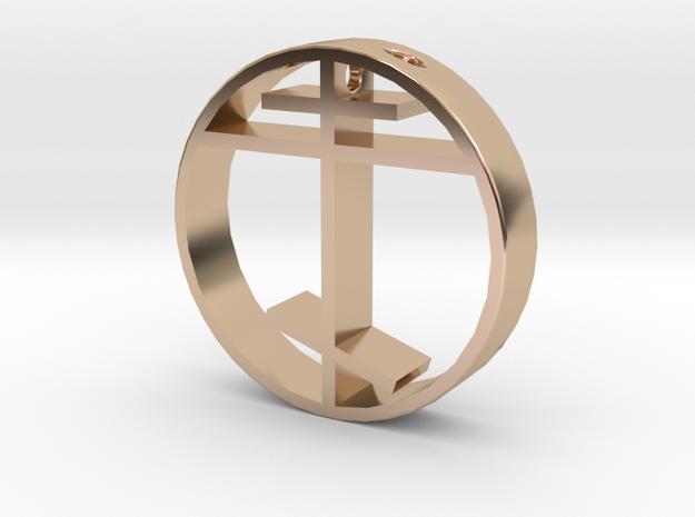 Orthodox cross pendant for men. in 14k Rose Gold Plated Brass