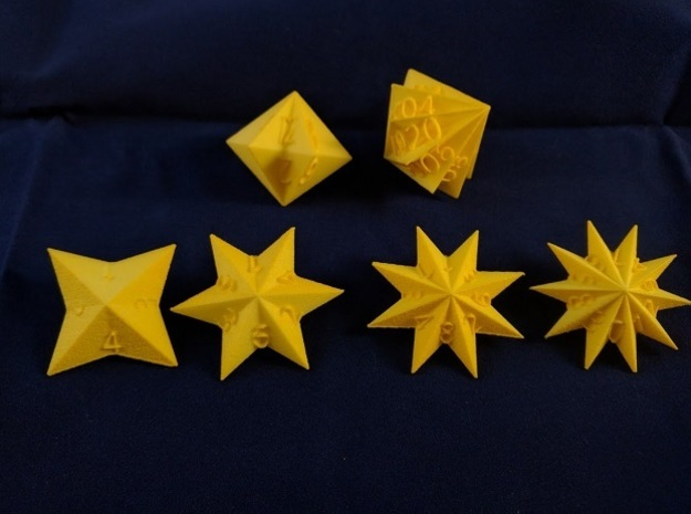 Star Dice in Yellow Processed Versatile Plastic: Polyhedral Set