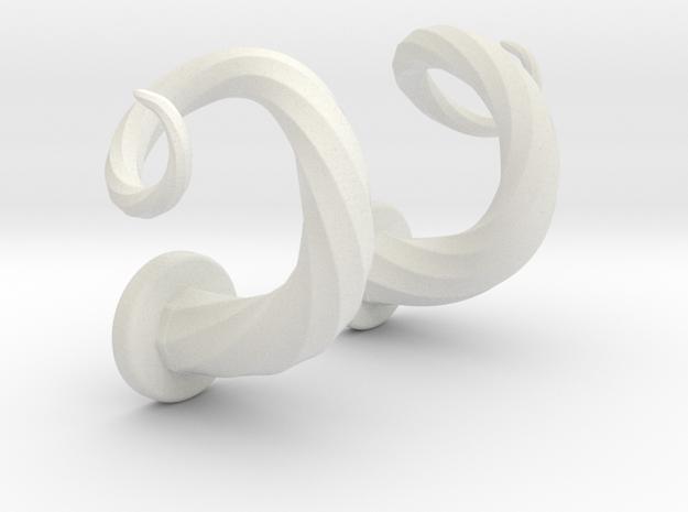 Spiral Cork-Screw Horn Set in White Strong & Flexible