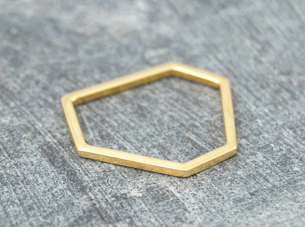 Squashed Hex Ring Sizes 6-12 in 14k Gold Plated: 6 / 51.5