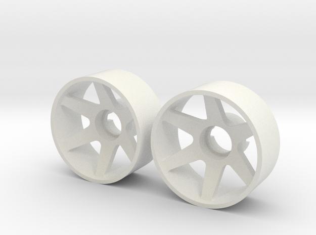 2x Llantas Mini-Z Delantera Offset 2 - 20mm in White Strong & Flexible