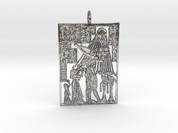 Kemetic Scene Pendant in Polished Silver