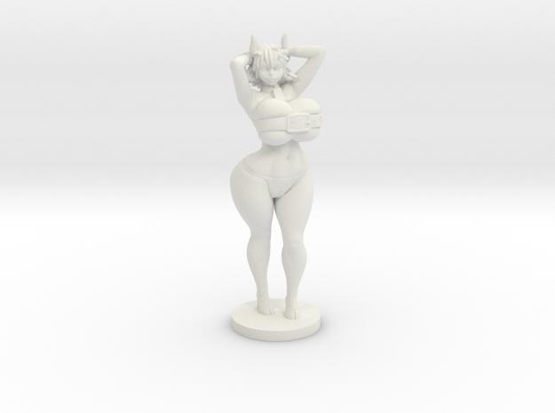 Moo the Minotaur - 40mm Miniplastic in White Natural Versatile Plastic