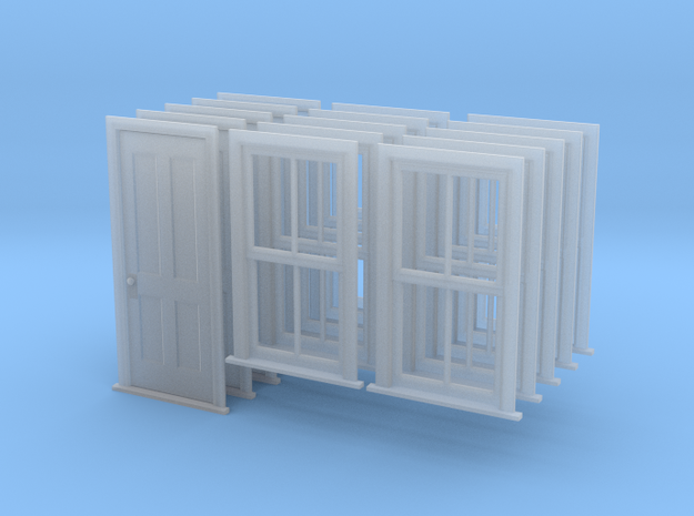 S Scale Bunkhouse Door And Windows 5 Sets in Smooth Fine Detail Plastic