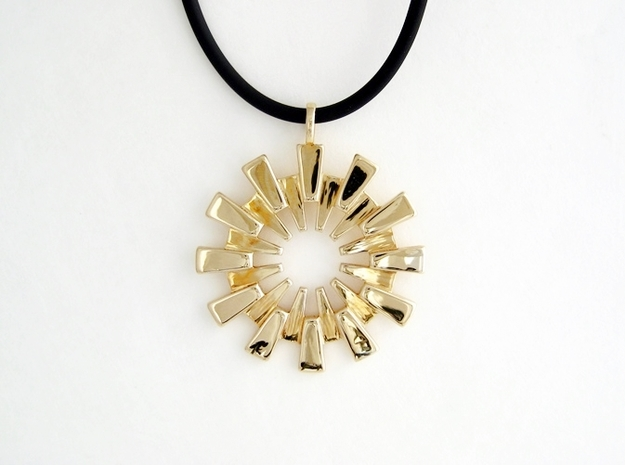 Pendant - 3D Printed Sun in Fine Metals 3d printed Polished Brass