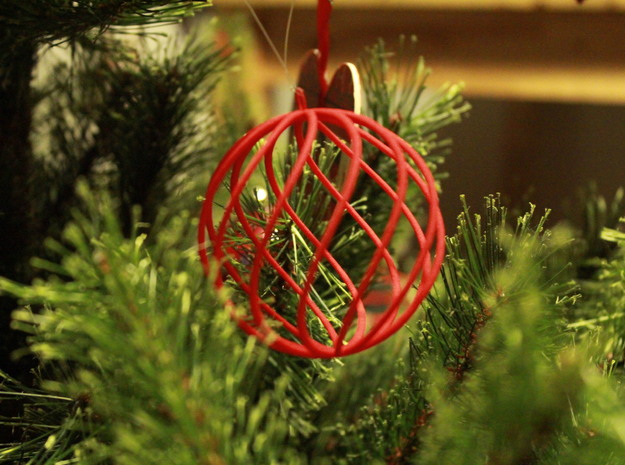 spiral christmas ball large in Red Strong & Flexible Polished