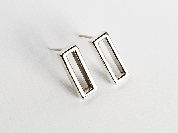 Rectangle Post Earrings, Rectangular Stud Earrings in Polished Silver