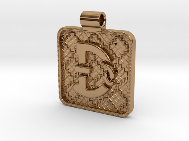 Saxon Pendant D in Polished Brass