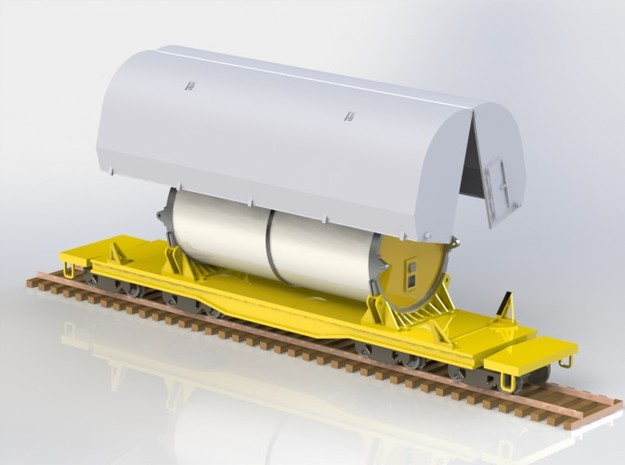 HO 1/87 NASA Shuttle SRB flatcar covers (set 3d printed A CAD render showing the two Clamshell halves, allowing the modeller to fit them on the flatcar or even suspend them by crane in a diorama.