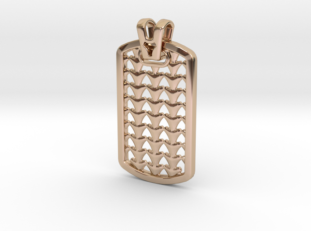 HOUNDS TOOTH DOG TAG 2 in 14k Rose Gold Plated Brass
