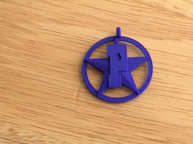 PHS charm - Plains Star 3d printed Shown in blue for detail. Available in other colors and materials.