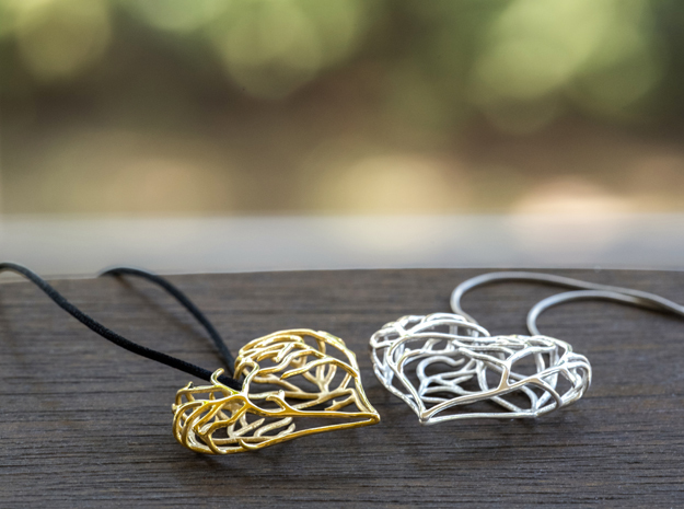 Complicated Passion 3d printed 18K Gold plated & Polished Silver
