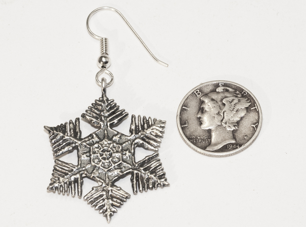 Snowflake Earrings - style H in Raw Silver