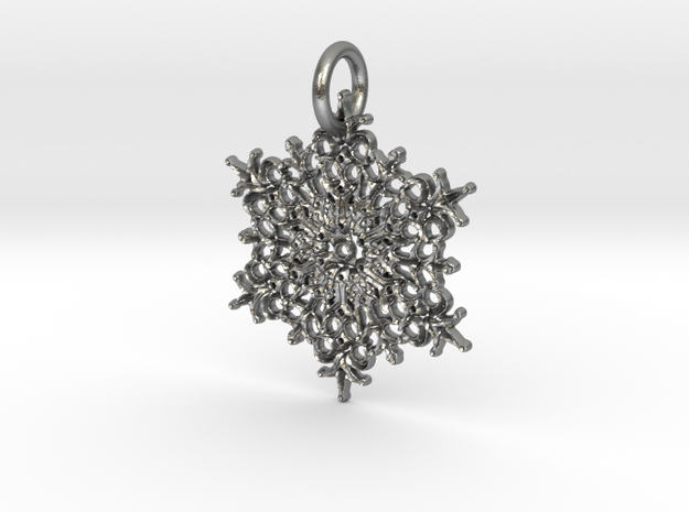 Snowflake Pendant A in Natural Silver