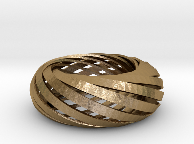 'Torus' of Mobius strips, large in Polished Gold Steel