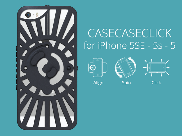 for iPhone 5SE - 5s - 5 : redial : CASECASE CLICK  in Black Natural Versatile Plastic