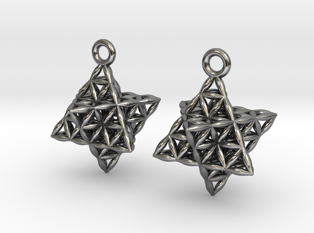 "Flower Of Life Star Tetrahedron Earrings .8"" in Polished Silver"