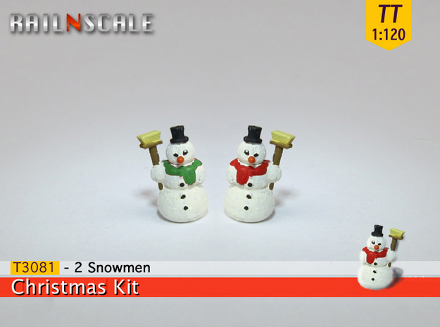 2 Snowmen (TT 1:120) in Smooth Fine Detail Plastic