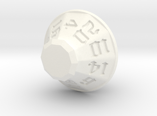 Jewel 20 Sided Die in White Processed Versatile Plastic