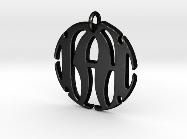 Monogram Initials NA Pendant in Matte Black Steel