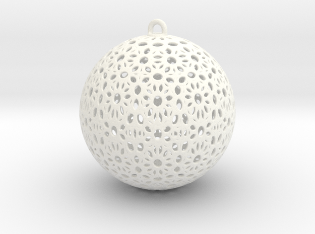 Christmas Tree Ball 58mm in White Strong & Flexible Polished