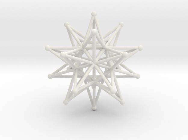 Stellated Icosahedron - 12 stars interlocking in White Natural Versatile Plastic