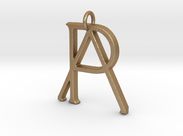 Monogram Initials PA Pendant  in Matte Gold Steel