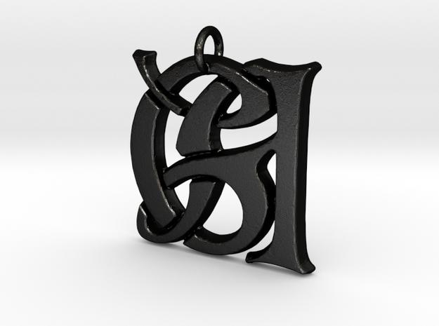 Monogram Initials GA Pendant  in Matte Black Steel