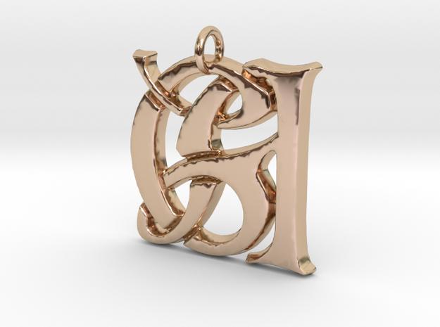 Monogram Initials GA Pendant  in 14k Rose Gold