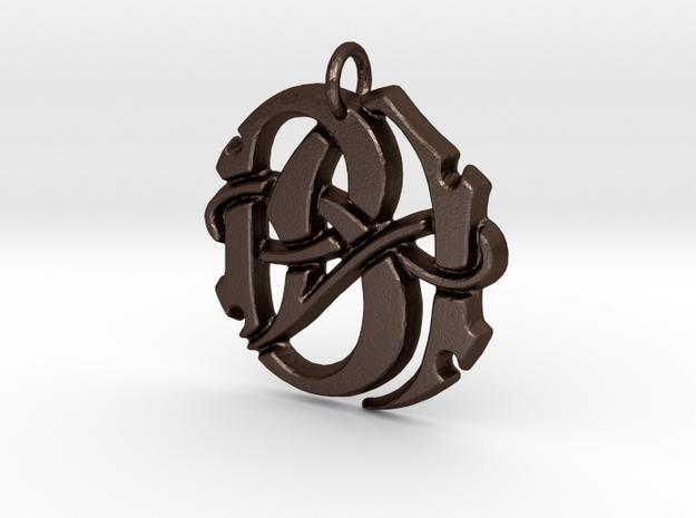 Monogram Initials BA Pendant  in Matte Bronze Steel